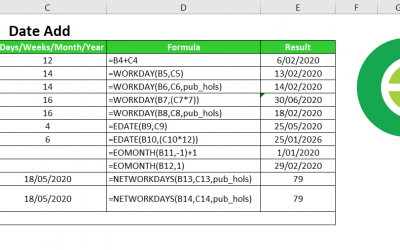 Add dates in Excel